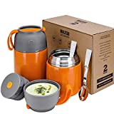 XIAPIA 2 Piezas Frasco Termo para Comida 500 & 700ml, Contenedor Térmico para Alimentos para Niños Almuerzo Escolar,Fácil de Limpiar,Botellas de Agua para Niños,Bicicletas,Picnic(Naranja)