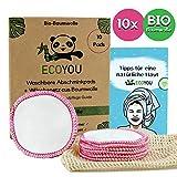 EcoYou® Abschminkpads Waschbar aus BIO-Baumwolle 10 St. PINK ♻ Zero Waste Wattepads + WÄSCHENETZ aus Baumwolle ♻ Make Up Entferner Pads + Hautpflege GUIDE ♻ Wiederverwendbare Pads