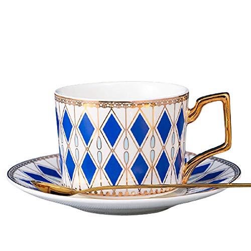 YHCS Ensemble De Tasse à Café Et Soucoupe, Tasse à Eau en Céramique Domestique, Tasse à Café/Tasse à Thé/Tasse à Lait Petit-déjeuner/Tasse à Boisson Jus, Bleu, 220 ML