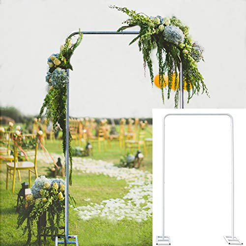 Swanna Wedding Arch Stand with Bases,Easy Assembly Sturdy Square Garden Climbing Plant Roses Arch Kit Metal Arbor Photo Booth Backdrop for Bridal Party Event Decoration (3.2 Ft)