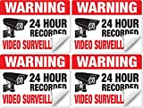"(4 Pack) 24 Hour Video Surveillance Sticker Signs, 3""x4"" Ultra-Durable Vinyl Decals with UV and Scratch Resistant Over-Laminate, Outdoor Durable, Made in USA by National Sign Source"