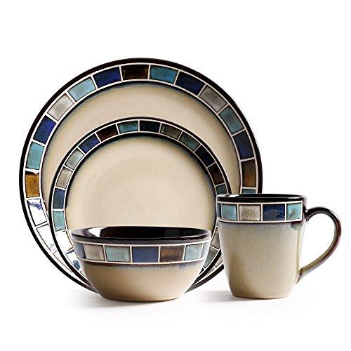 Vajilla occidental Tazón de taza Juego de platos de cerámica Tazón de sopa para el hogar Plato Tazón de fideos Plato de cena Taza Taza de café. Conjunto de cuatro piezas (azul)