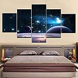 GCKJ Cuadro en Lienzo Universo oscuro cielo estrellado espacio planeta 100x55cm Impresión de 5 Piezas Material Tejido no Tejido Impresión Artística Imagen Gráfica Decoracion de Pared Tu Salón o Dormit