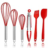 Newbested Silicone Whisk Set,Durable Kitchen Utensil Set Silicone Wire Egg Whisk Spatula Basting Brush Tongs for Beating,Blending,Whisking and Stirring(Set of 6,Red Color)