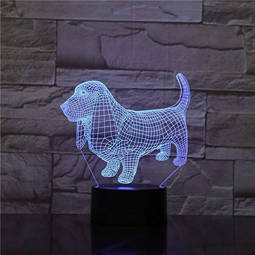 SCNYCUL 3D Night Light Illusion Lamp Cute big eared dachshund 7 colors 3-Pattern with Remote Control Best Gifts Toys Boys Girls Birthday Holiday Gift Children