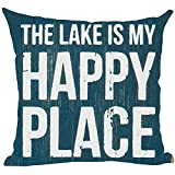 Suo Long Word Art Quote The Lake Is My Happy Place Retro Blue Spring Summer Throw Pillow Cover Case Cushion