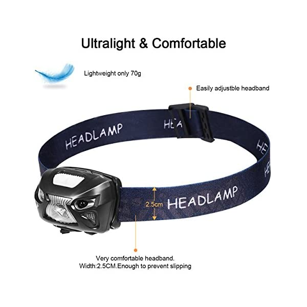 Linterna Frontal LED USB Recargable 1200mAh, Linterna Cabeza 8 Modos Sensor de movimiento, Linternas LED alta Potencia… 2