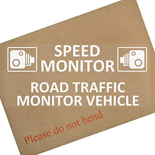 1 x Snelheidsmonitor, Wegverkeer Monitor Voertuig-Wit op Clear-Internal Window-200mm, Vrachtwagen, Vrachtwagen, Van,CCTV,Camera,Opname,Teken,Opmerking,Sticker,Waarschuwingslabel,Taxi,Vrachtwagen,Mini,Bus,Caravan,Veiligheid,Beveiliging