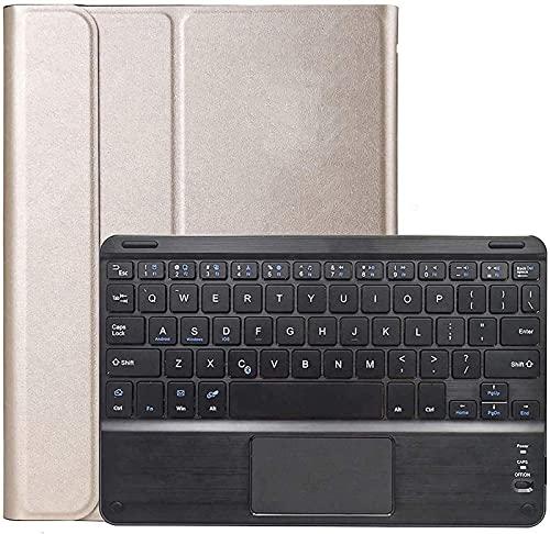 Gndy Funda de teclado para Galaxy Tab A 10.1 pulgadas 2016 (modelo SM-T580/T585), teclado inalámbrico desmontable con panel táctil, cubierta de cuero sintético, oro rosa