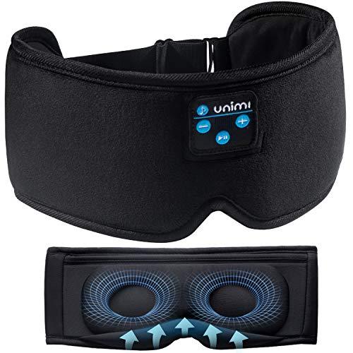 Unimi 2021 Bluetooth Mascherina per Dormire , Wireless 5.0 Bluetooth Maschera per dormire , Musica Cuffie per dormire da viaggio , Maschera per dormire con altoparlanti integrati Microfono lavabile