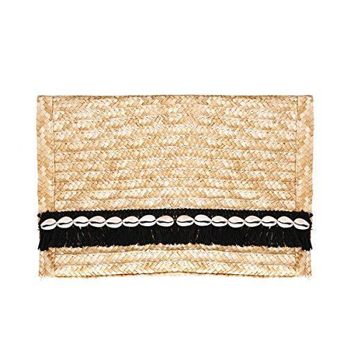 JOSEKO Cartera de paja, bolso de noche tejido para mujer, bolso de paja para bodas de verano, imprescindible para viajar a la playa de color crema