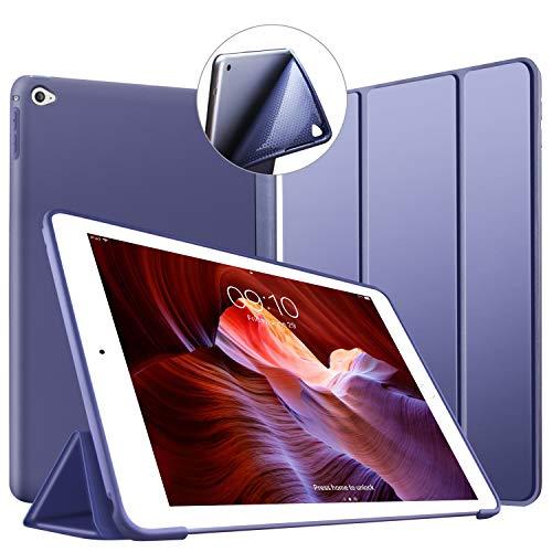 VAGHVEO Funda iPad Air 2, Ligera Silicona Soporte Smart Cover [Auto-Sueño/Estela], Cubierta Trasera de TPU Suave Cáscara para Apple 9.7 Pulgadas iPad Air 2 (Modelo: A1566, A1567), Azul Marino