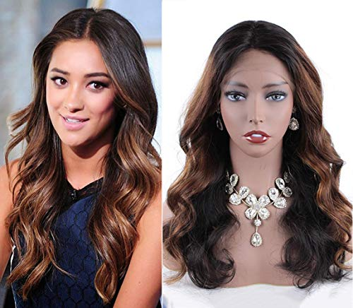 Ombre Human Hair Wigs Body Wave 360 Lace Frontal Wig for Women Brazilian Remy Hair Wigs with Baby Hair Pre Plucked Hairline Ombre Color 18inch