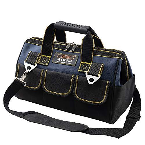 AIRAJ 13 zoll Werkzeugtasche,faltbare Werkzeugtasche mit Innentasche zur Aufbewahrung von Werkzeugen und rutschfestem Gummipolster unten,geeignet für Haushalt,Zimmerei,Werkzeugkoffer für Elektriker