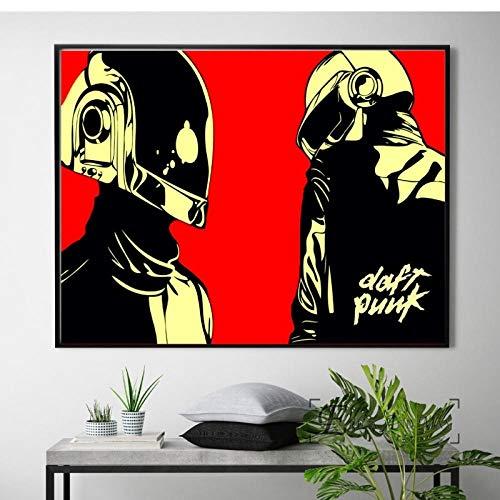 LLXHGDaft Punk Helm Maske Musik Poster Und Print Leinwand Kunst Gemälde Wandbilder Für Wohnzimmer Dekoration Wohnkultur E-50X75Cm Ungerahmt
