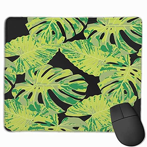 Alfombrilla para ratón para juegos, alfombrillas para alfombrillas para mouse con textura premium, linda alfombrilla para gamer, oficina y hogar Tropical con brillantes hojas de Monstera Rapport Calic