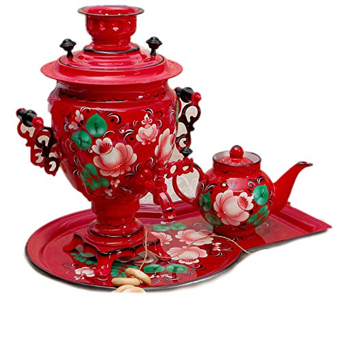 """Electric Samovar Red Set """"Flowers"""" Traditional Russian Tea Maker with Tray"""