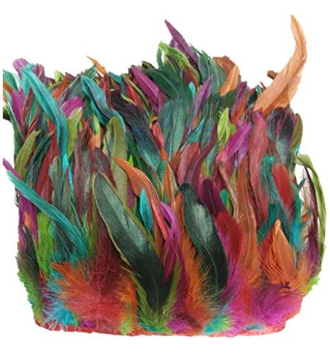 Preisvergleich Produktbild ERGEOB® Echte Hahnenfedern auf 200cm Stoffstreifen in Bunt - 13 Farbvarianten - Ideal für Fasching,  Karneval,  Halloween,  Basteln,  Bekleidung,  Kostüme.