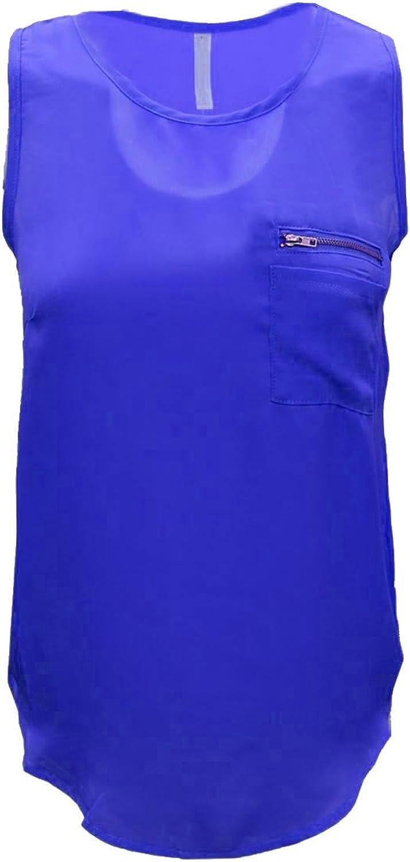 Cambridge Select Juniors Sleeveless Scoop Neck Pocket Zipper Blouse