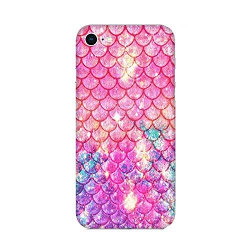 Funda iPhone 6 Carcasa Compatible con Apple iPhone 6 Cola de Sirena Copos de Color Rosa/TPU Suave Gel de Silicona/Teléfono Hard Snap en Antideslizante Antideslizante Anti-rasguño Resistente a lo