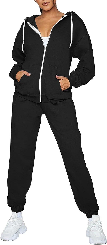 Fixmatti Womens Max 43% OFF Tracksuit Zip Up Max 53% OFF Sweatsuits Jogger w Sets Hoodie