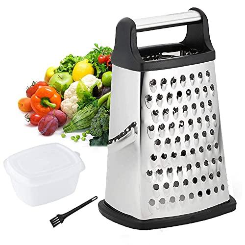Reibe Edelstahl, Turmreibe mit 4 Reibflächen Fein, Küchenreibe mit Edelstahl-Klingen für Obst, Gemüse, Käse, Karotten, Vierkantreibe, spülmaschinengeeignet(Primärfarbe)