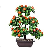 liushop Plantas Artificiales Artificial Bonsai Tree Fake Plant Decoration Fruit Bonsai Tree Living Room Entrance Faux Potted Green Plant (Apple/Naranja/Peach/Pomegranate) Bonsái Artificial