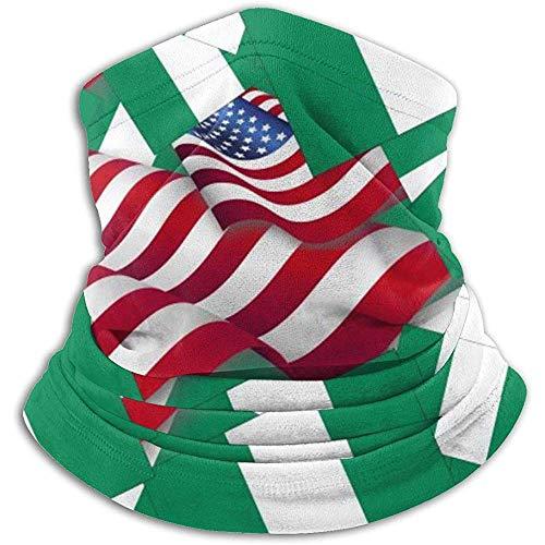 Linger In Nigeria-Flagge mit Amerika-Flaggen-Halswärmer-Schal-Gamaschen-Gesichtsmaske Bandanas für Staub-Winter des kalten Wetters draußen
