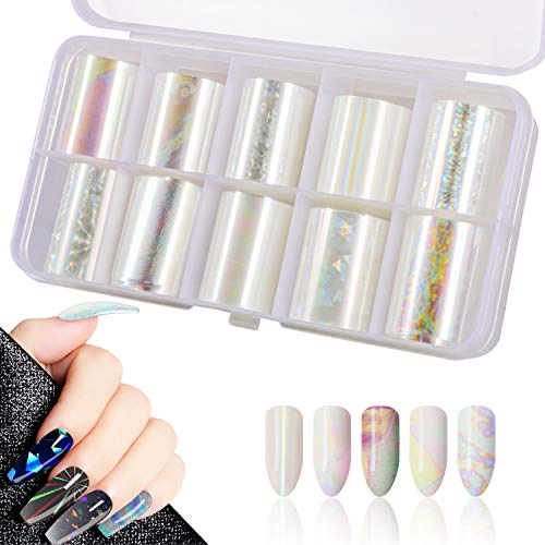 10 Rolls White Pearl Color Holographic Nail Art Foil Sticker, Mwoot Nail Transfer Aufkleber Sternenhimmel Nail Wraps Transfer Aufkleber Kit Nagelfolie Transfer (0.98inchs39.37inchs/2.5cm100cm)