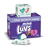 Diapers Size 5, 148 Count and Baby Wipes - Luvs Ultra Leakguards Disposable Baby Diapers, ONE Month Supply with Pampers Sensitive Water Based Baby Diaper Wipes, 6X Pop-Top Pack, 336 Total Wipes