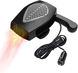 Portable Car Heater, Auto Electronic Heater Fan Fast Heating Defrost 12V 150W Car Heater, Plug Adjustable Thermostat in Cigarette Lighter, 2 in 1 Heating/Cooling Function 3-Outlet Car Heater (Black)