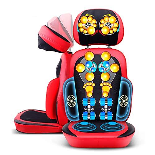 SZ&LAM Rücken- und Schultermassage, Massage-Stuhl mit der Funktion der Vibration Heizung, Tief knetet, für Schulter, Hüfte und Gesäß-Muskel-Schmerz-Entlastung,Rot