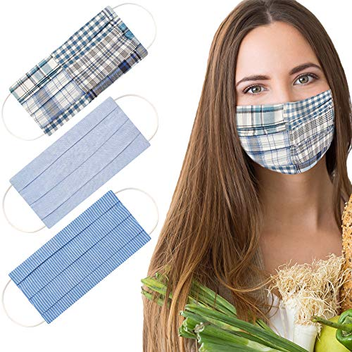 Premium Adult Face Mask (Set of 3 Assorted Blue) | 100% Cotton | 2-Layer & Reversible | Washable & Reusable | Breathable & Comfortable | Unisex Designs by Lily Loves Georgie | Ryan Set