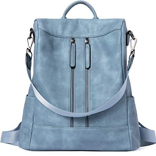 BROMEN Rucksack Damen Anti Diebstahl Rucksack Damenrucksack aus Leder Rucksackhandtasche Tagesrucksack für Frauen Mädchen, Blau