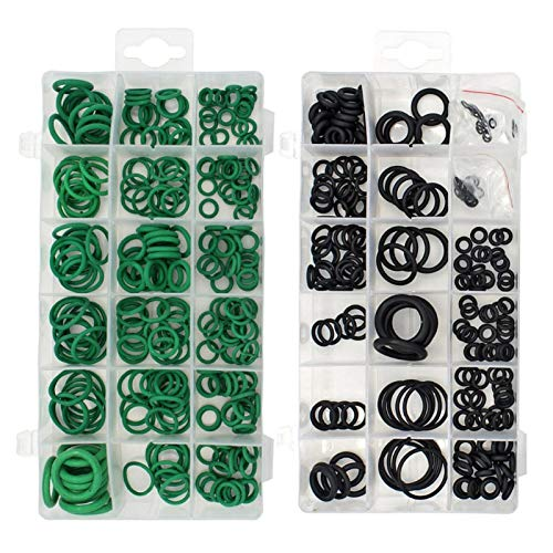 QFDM Gaskets 495PCS/pack 36 Sizes O-ring Kit Black & Green Metric O ring Seals Watertightness Rubber O ring Gaskets oil resistance Assortment Universal gasket