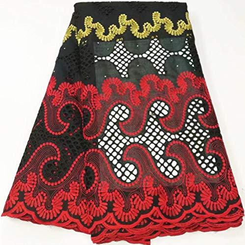 Goud kant zwitserse kant stof afrikaanse kant stof zwitserse voile kant katoen kant 5 meter nigeriaanse kant stoffen voor feestjurk yc-b6,26
