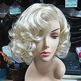 LWF Cosplay Wig Oro y Modelos Europeos de Pelo Corto y Rizado, Peluca, Peluca de Marilyn Monroe,