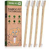 Prymal Pets Bamboo Dog Toothbrush - Double-Sided Dental Hygiene Brush for Pets, Cats, Puppies, Kittens - Oral Cleaning Tools with Ergonomic Long Handle, Small & Large Head with Soft Bristles - 4-Pack