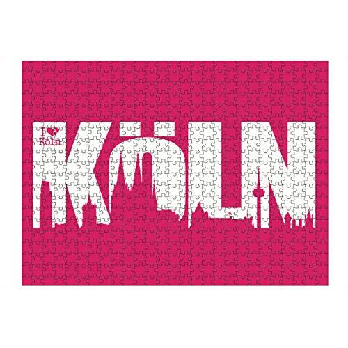 artboxONE Ravensburger-Puzzle L (500 Teile) Städte / Köln KÖLN Skyline Schriftzug - Puzzle Köln Kölner Dom Skyline