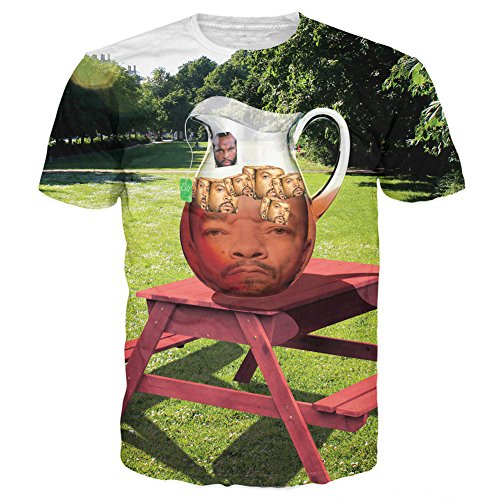 T-Shirt 3D Print Mr. T Ice-T with Ice Cubes Funny Short Sleeves (L)