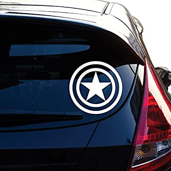 Yoonek Graphics Captain America Decal Sticker for Car Window Laptop Motorcycle Walls Mirror and More # 459  4  White