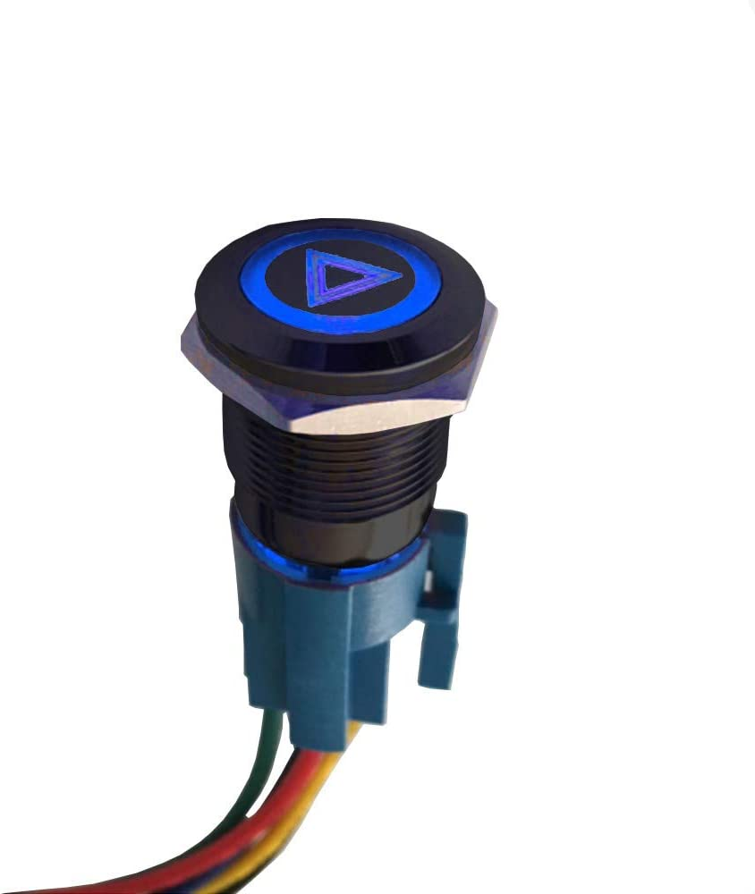 ETOPARS Black Shell 12V Car Vehicle Blue LED Light Fog Push Button Stainless Steel Metal Toggle Switch 19mm Socket Plug