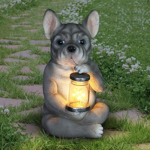 "Exhart Solar French Bulldog Statue – Cute Bulldog Garden Statues w/Light-Up Jar–Weather-Resistant Resin Dog Decor – French Bulldog Decor Garden Sculptures & Statues 6"" L x 6.7"" W x 10.5""H"