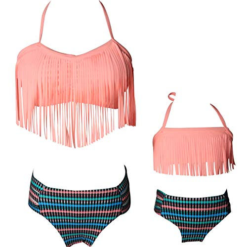 Mommy and Me Swimwear 2 Pieces Bikini Set Family Matching Swimsuit High Waisted Bikini Set Girls Swimwear (Pink, Women L)