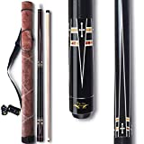 TaiBA 2-Piece Pool Stick + Hard Case,13mm Tip, 58', Hardwood Canadian Maple Professional Billiard Pool Cue Stick 19-22 Oz (Selectable)