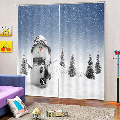 MMHJS 3D Christmas Printed Curtains, Polyester Waterproof And Durable Curtains, Hotel Bathroom Garden Bedroom Blackout Vertical Curtains (2 Pieces)