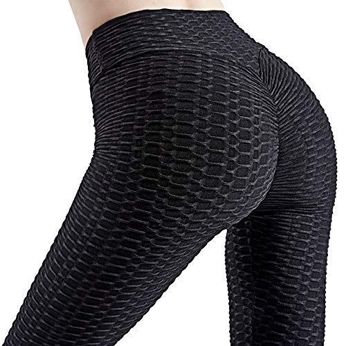 High Waisted Anti Cellulite Leggings - Butt Lifting Women Scrunch Booty Yoga Pants Tummy Control Sport Tights (Black,S)