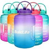 BuildLife - Borraccia da 2,5 l, con marcatura del tempo, grande, senza BPA, ampia apertura con manico, riutilizzabile, a prova di perdite, colore: viola/blu sfumato, 2,5 l