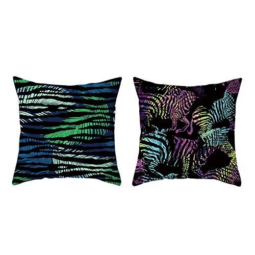 AmDxD Juego de 2 fundas de almohada de 100% poliéster, cuadradas, 40,6 x 40,6 cm, diseño de hojas, color negro