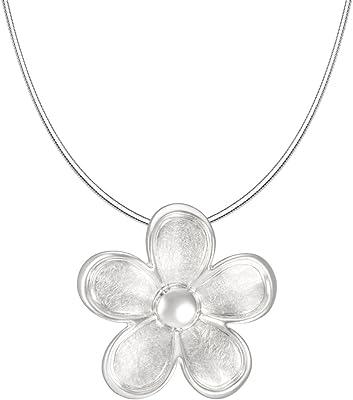 Vinani Ciondolo a forma di fiore spazzolato con bordo lucido con catena a serpente in argento Sterling 925, catena Italia, fiore ABTA-S